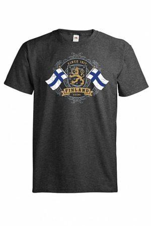 Kultaleijona ja liput T-paita   015623